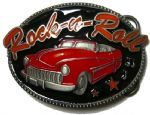 Rock n Roll Car Belt Buckle (red) + display stand. Code KJ6